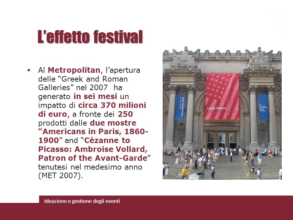 Ideazione e gestione degli eventi Al Metropolitan, lapertura delle Greek and Roman Galleries nel 2007 ha generato in sei mesi un impatto di circa 370