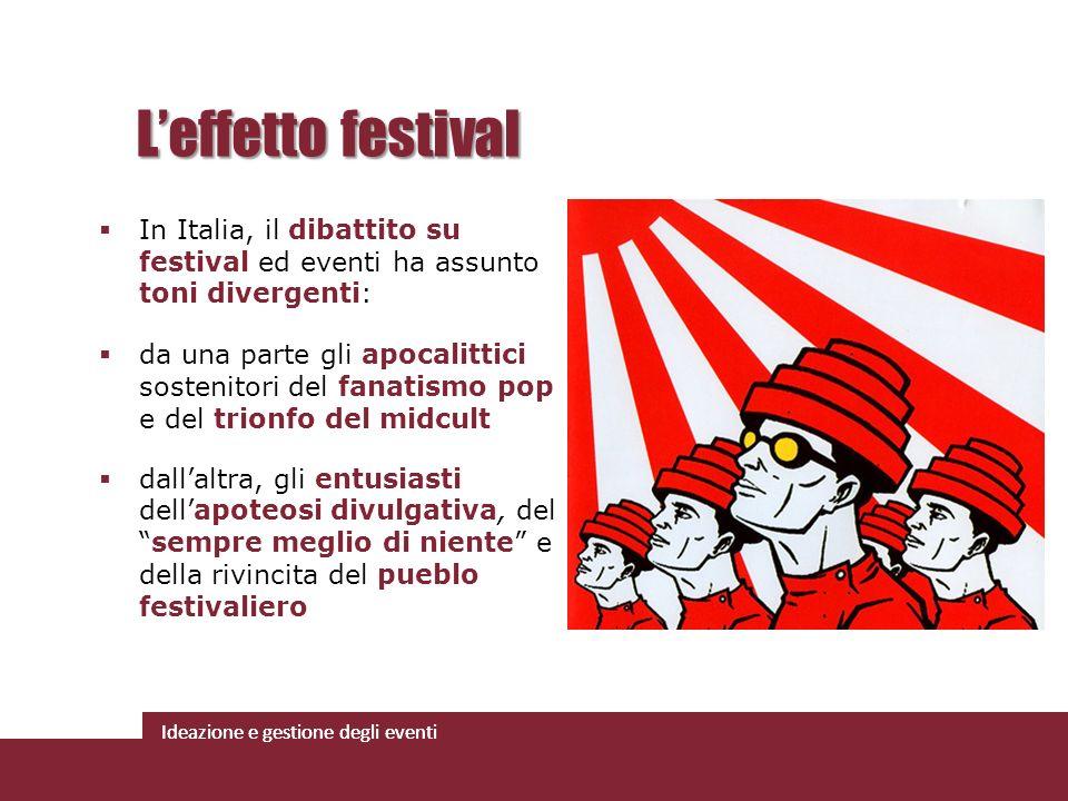 Ideazione e gestione degli eventi In Italia, il dibattito su festival ed eventi ha assunto toni divergenti: da una parte gli apocalittici sostenitori