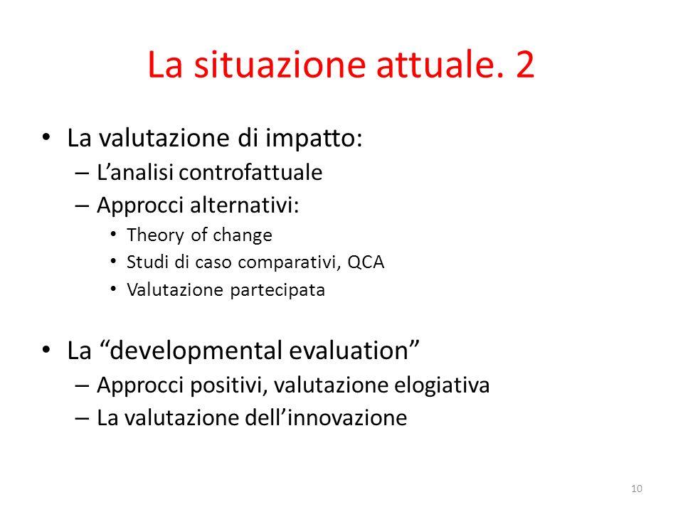 La situazione attuale. 2 La valutazione di impatto: – Lanalisi controfattuale – Approcci alternativi: Theory of change Studi di caso comparativi, QCA