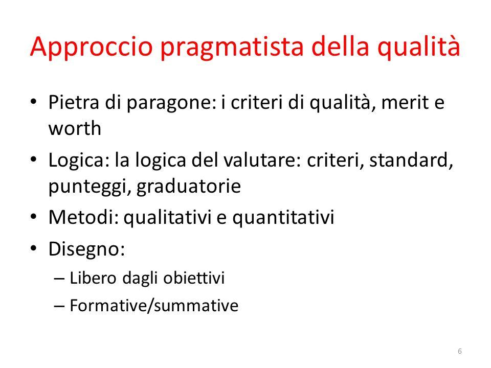 Approccio pragmatista della qualità Pietra di paragone: i criteri di qualità, merit e worth Logica: la logica del valutare: criteri, standard, puntegg