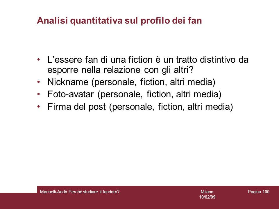 Milano 10/02/09 Marinelli-Andò Perché studiare il fandom? Pagina 100 Analisi quantitativa sul profilo dei fan Lessere fan di una fiction è un tratto d