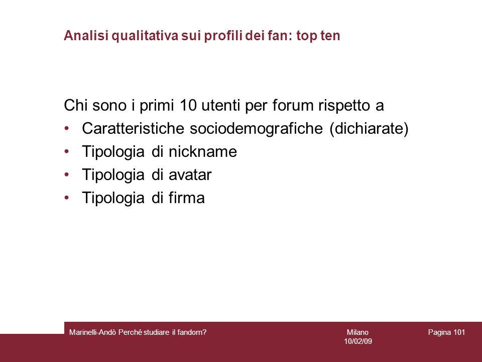Milano 10/02/09 Marinelli-Andò Perché studiare il fandom? Pagina 101 Analisi qualitativa sui profili dei fan: top ten Chi sono i primi 10 utenti per f