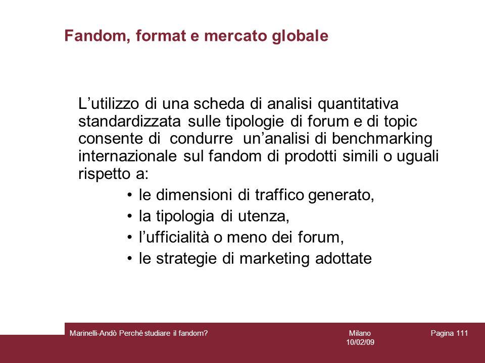 Milano 10/02/09 Marinelli-Andò Perché studiare il fandom? Pagina 111 Fandom, format e mercato globale Lutilizzo di una scheda di analisi quantitativa
