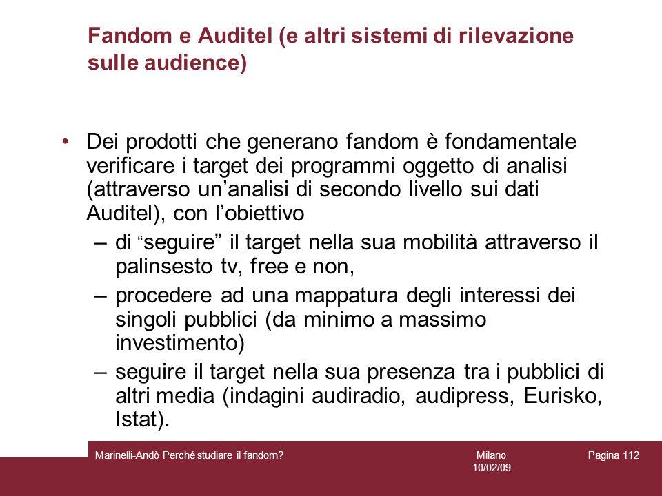 Milano 10/02/09 Marinelli-Andò Perché studiare il fandom? Pagina 112 Fandom e Auditel (e altri sistemi di rilevazione sulle audience) Dei prodotti che