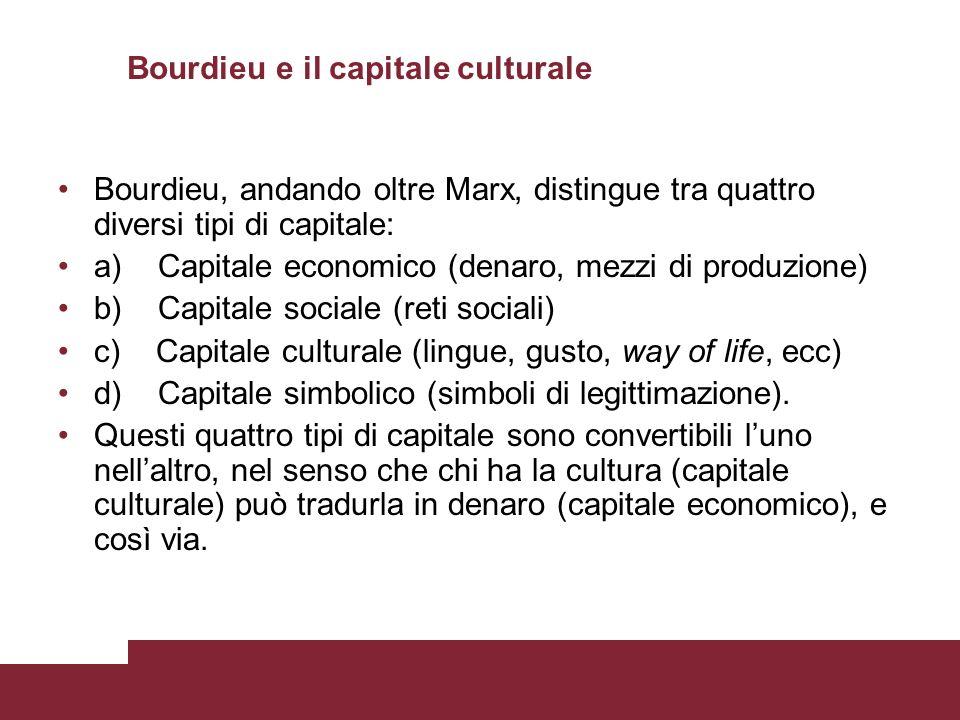 Bourdieu e il capitale culturale Bourdieu, andando oltre Marx, distingue tra quattro diversi tipi di capitale: a) Capitale economico (denaro, mezzi di