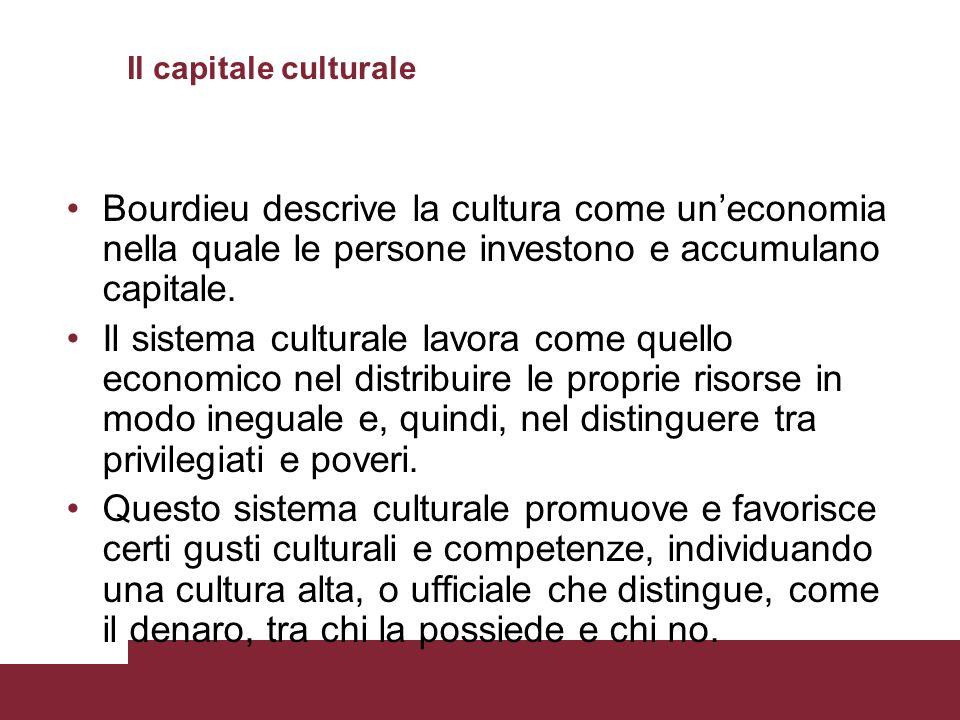 Il capitale culturale Bourdieu descrive la cultura come uneconomia nella quale le persone investono e accumulano capitale. Il sistema culturale lavora