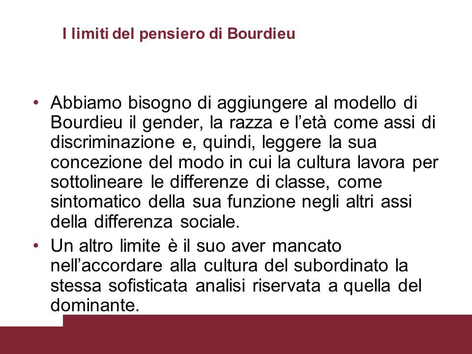 I limiti del pensiero di Bourdieu Abbiamo bisogno di aggiungere al modello di Bourdieu il gender, la razza e letà come assi di discriminazione e, quin