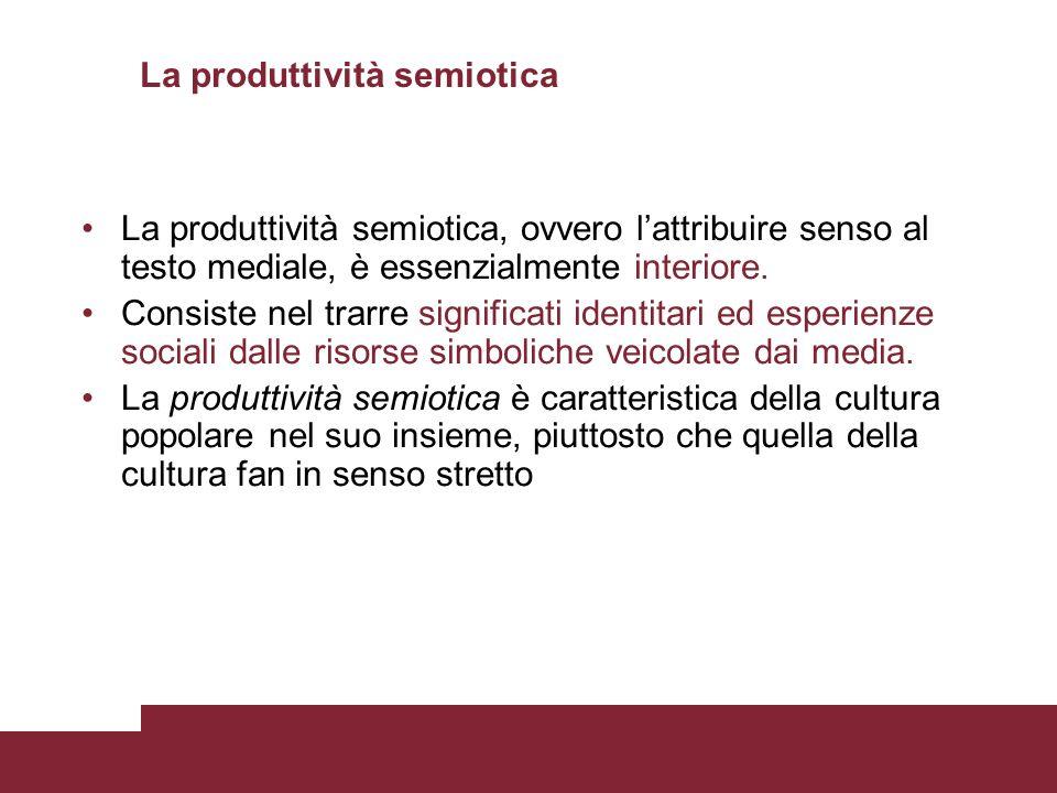 La produttività semiotica La produttività semiotica, ovvero lattribuire senso al testo mediale, è essenzialmente interiore. Consiste nel trarre signif