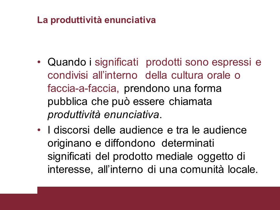 La produttività enunciativa Quando i significati prodotti sono espressi e condivisi allinterno della cultura orale o faccia-a-faccia, prendono una for