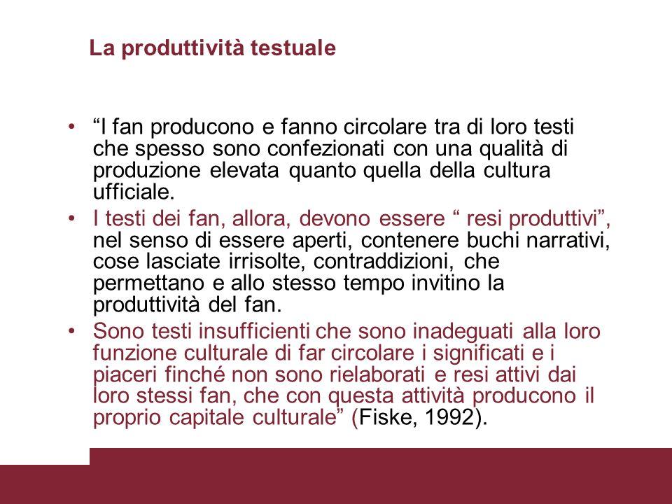 La produttività testuale I fan producono e fanno circolare tra di loro testi che spesso sono confezionati con una qualità di produzione elevata quanto