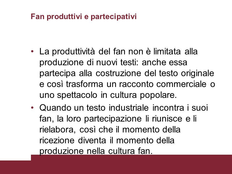 Fan produttivi e partecipativi La produttività del fan non è limitata alla produzione di nuovi testi: anche essa partecipa alla costruzione del testo