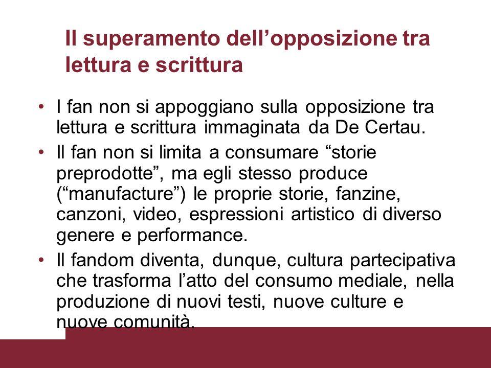 Il superamento dellopposizione tra lettura e scrittura I fan non si appoggiano sulla opposizione tra lettura e scrittura immaginata da De Certau. Il f