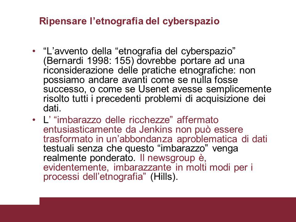 Ripensare letnografia del cyberspazio Lavvento della etnografia del cyberspazio (Bernardi 1998: 155) dovrebbe portare ad una riconsiderazione delle pr