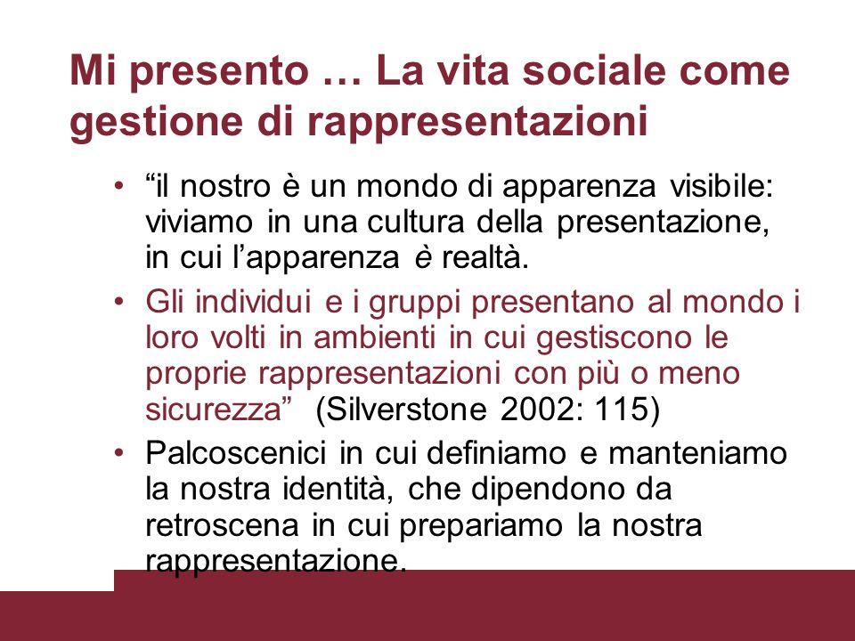 Mi presento … La vita sociale come gestione di rappresentazioni il nostro è un mondo di apparenza visibile: viviamo in una cultura della presentazione