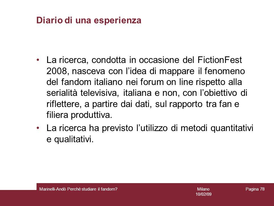 Milano 10/02/09 Marinelli-Andò Perché studiare il fandom? Pagina 78 Diario di una esperienza La ricerca, condotta in occasione del FictionFest 2008, n