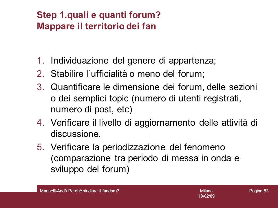 Milano 10/02/09 Marinelli-Andò Perché studiare il fandom? Pagina 83 Step 1.quali e quanti forum? Mappare il territorio dei fan 1.Individuazione del ge