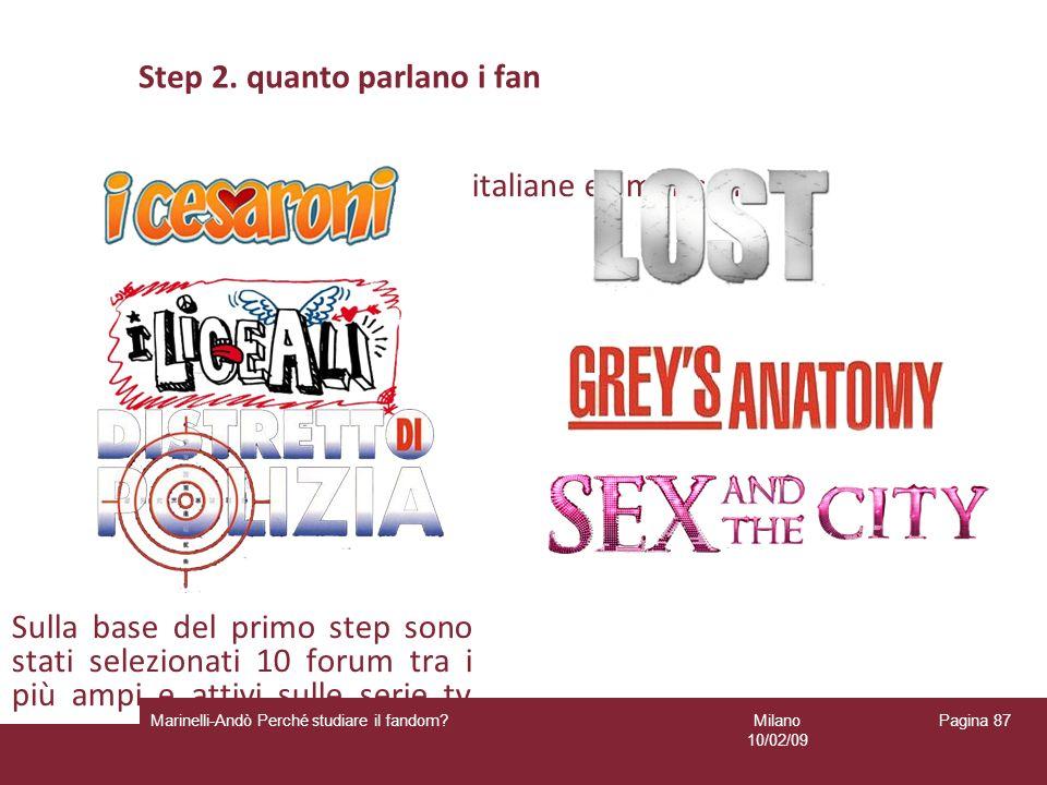 Milano 10/02/09 Marinelli-Andò Perché studiare il fandom? Pagina 87 Step 2. quanto parlano i fan Sulla base del primo step sono stati selezionati 10 f