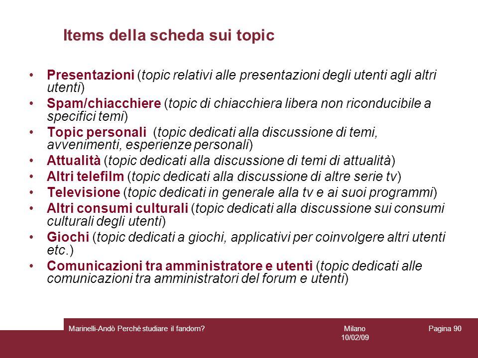 Milano 10/02/09 Marinelli-Andò Perché studiare il fandom? Pagina 90 Items della scheda sui topic Presentazioni (topic relativi alle presentazioni degl