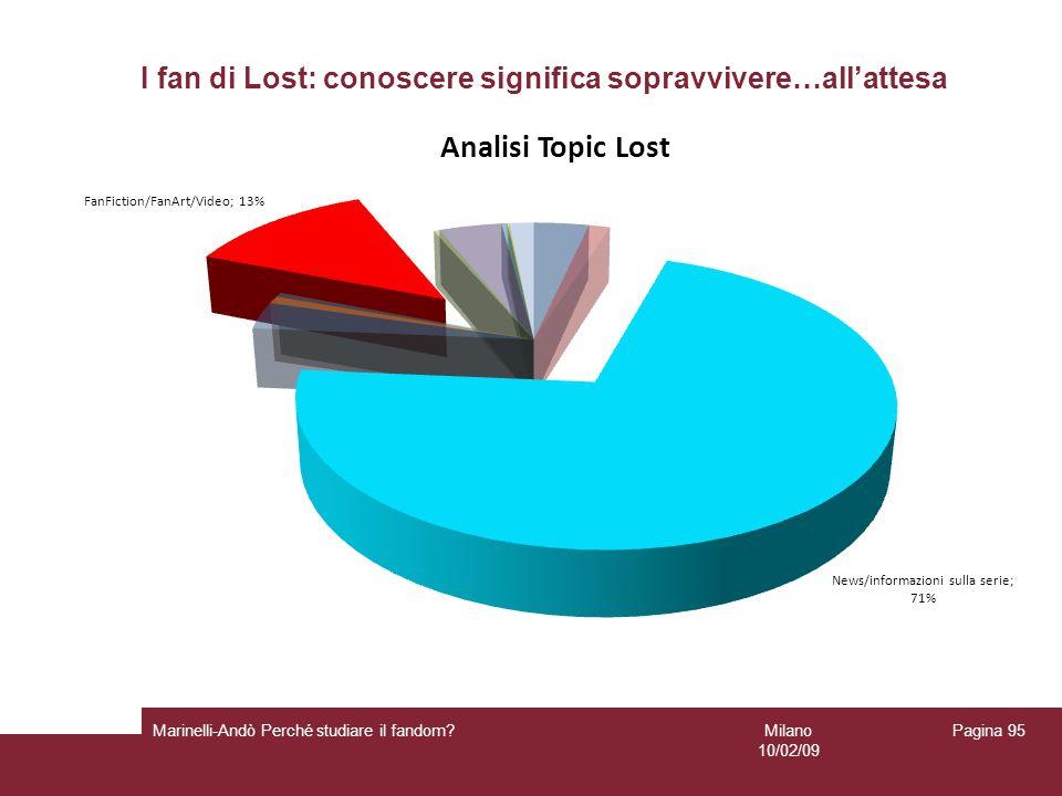 Milano 10/02/09 Marinelli-Andò Perché studiare il fandom? Pagina 95 I fan di Lost: conoscere significa sopravvivere…allattesa
