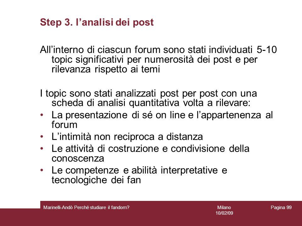 Milano 10/02/09 Marinelli-Andò Perché studiare il fandom? Pagina 99 Step 3. lanalisi dei post Allinterno di ciascun forum sono stati individuati 5-10