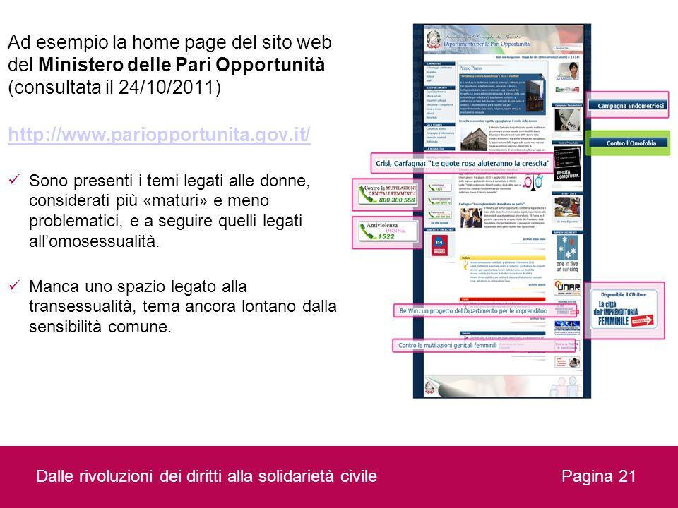 Dalle rivoluzioni dei diritti alla solidarietà civilePagina 21 Ad esempio la home page del sito web del Ministero delle Pari Opportunità (consultata i