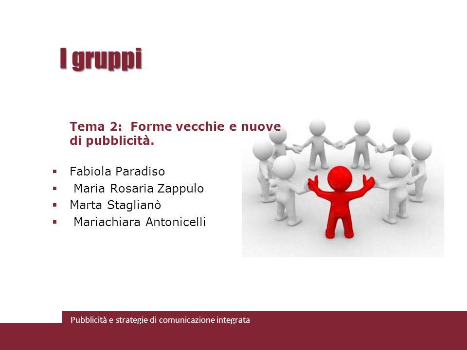 Pubblicità e strategie di comunicazione integrata I gruppi Tema 2: Forme vecchie e nuove di pubblicità. Fabiola Paradiso Maria Rosaria Zappulo Marta S