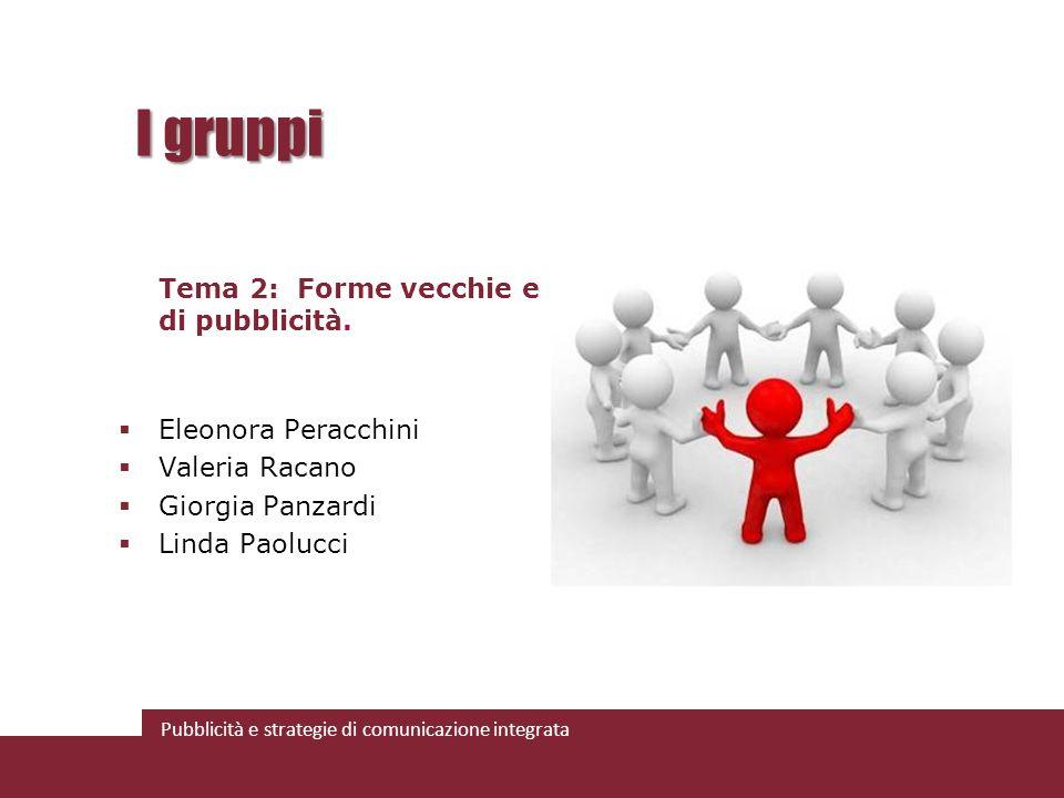 Pubblicità e strategie di comunicazione integrata I gruppi Tema 2: Forme vecchie e nuove di pubblicità. Eleonora Peracchini Valeria Racano Giorgia Pan