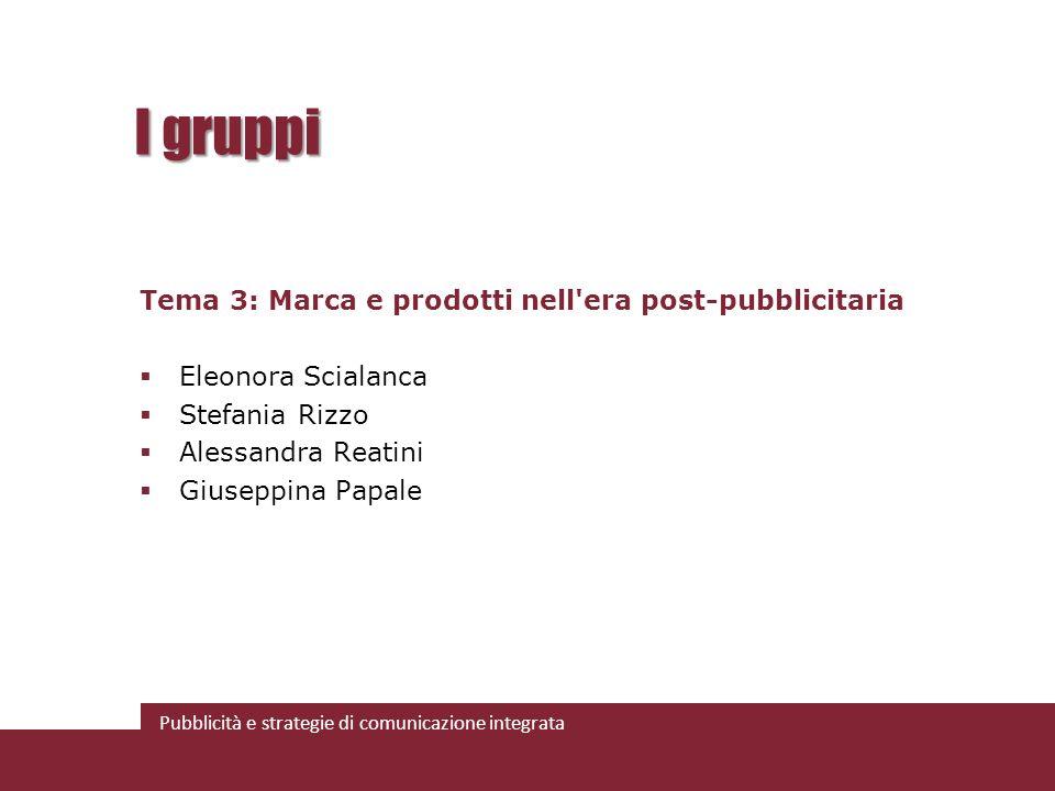 Pubblicità e strategie di comunicazione integrata I gruppi Tema 3: Marca e prodotti nell'era post-pubblicitaria Eleonora Scialanca Stefania Rizzo Ales