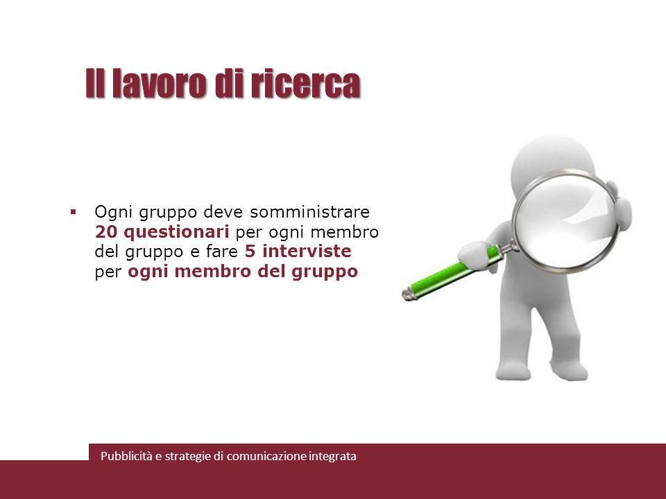 Pubblicità e strategie di comunicazione integrata Il lavoro di ricerca Ogni gruppo deve somministrare 20 questionari per ogni membro del gruppo e fare