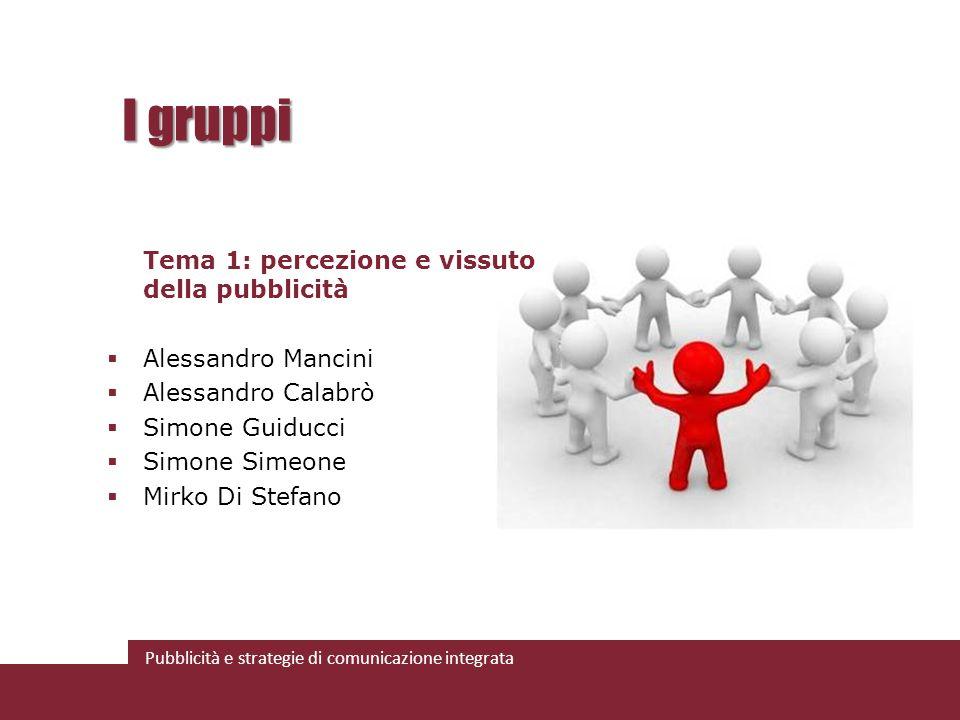 Pubblicità e strategie di comunicazione integrata I gruppi Tema 1: percezione e vissuto della pubblicità Alessandro Mancini Alessandro Calabrò Simone