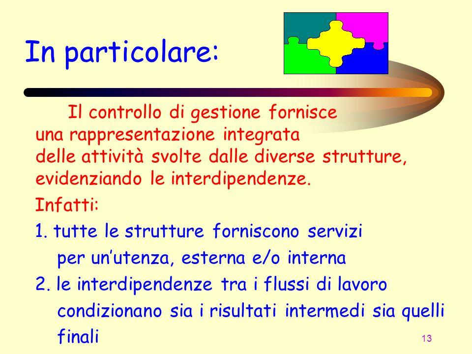 13 In particolare: Il controllo di gestione fornisce una rappresentazione integrata delle attività svolte dalle diverse strutture, evidenziando le int