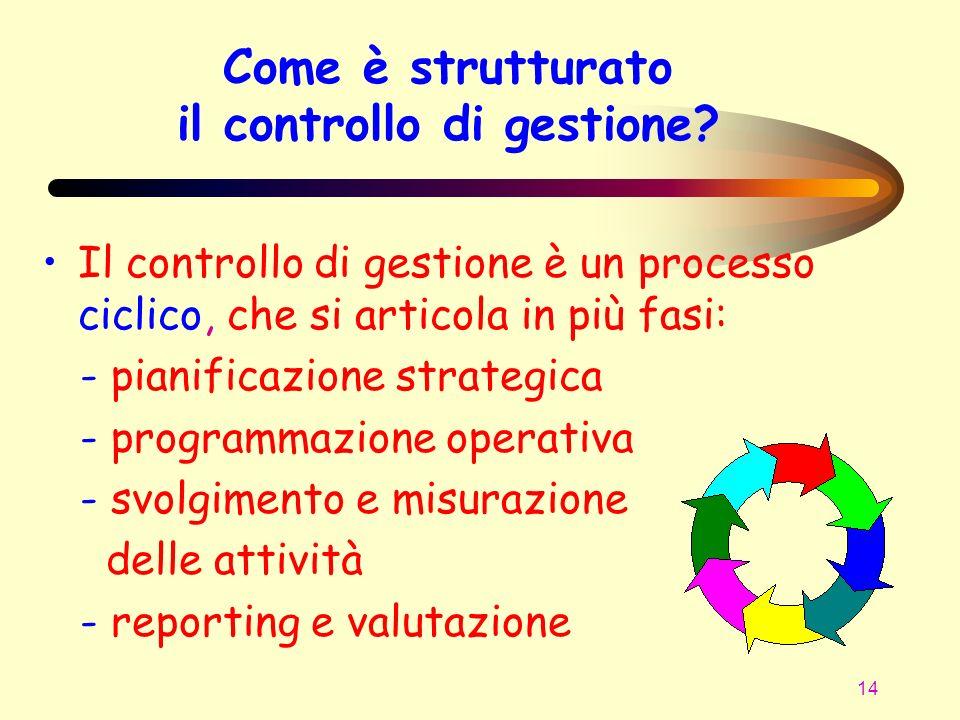 14 Il controllo di gestione è un processo ciclico, che si articola in più fasi: - pianificazione strategica - programmazione operativa - svolgimento e