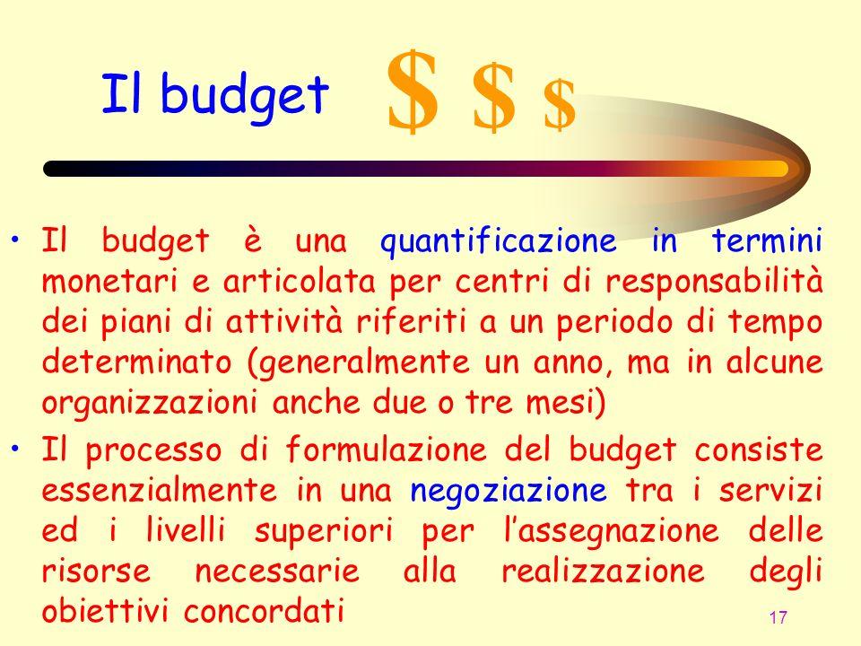 17 Il budget Il budget è una quantificazione in termini monetari e articolata per centri di responsabilità dei piani di attività riferiti a un periodo