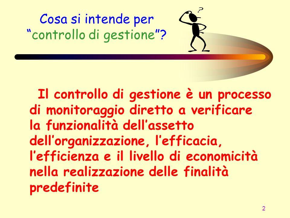 2 Cosa si intende percontrollo di gestione? Il controllo di gestione è un processo di monitoraggio diretto a verificare la funzionalità dellassetto de
