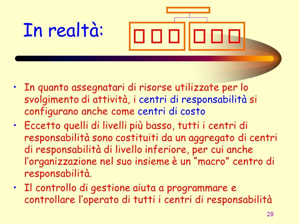 29 In realtà: In quanto assegnatari di risorse utilizzate per lo svolgimento di attività, i centri di responsabilità si configurano anche come centri