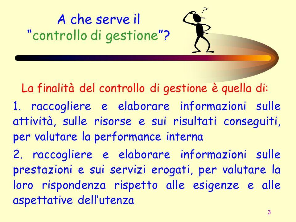 3 A che serve ilcontrollo di gestione? La finalità del controllo di gestione è quella di: 1. raccogliere e elaborare informazioni sulle attività, sull