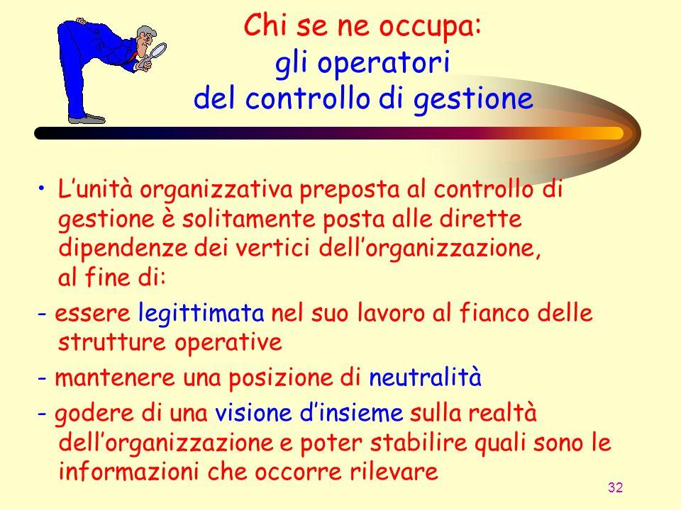 32 Lunità organizzativa preposta al controllo di gestione è solitamente posta alle dirette dipendenze dei vertici dellorganizzazione, al fine di: - es
