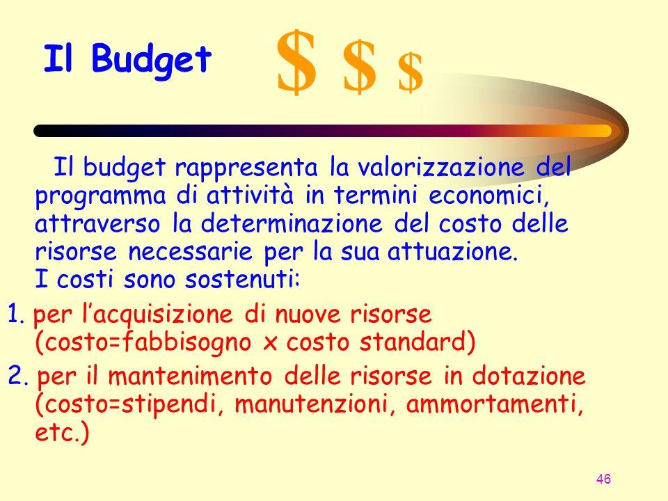 46 Il Budget Il budget rappresenta la valorizzazione del programma di attività in termini economici, attraverso la determinazione del costo delle riso