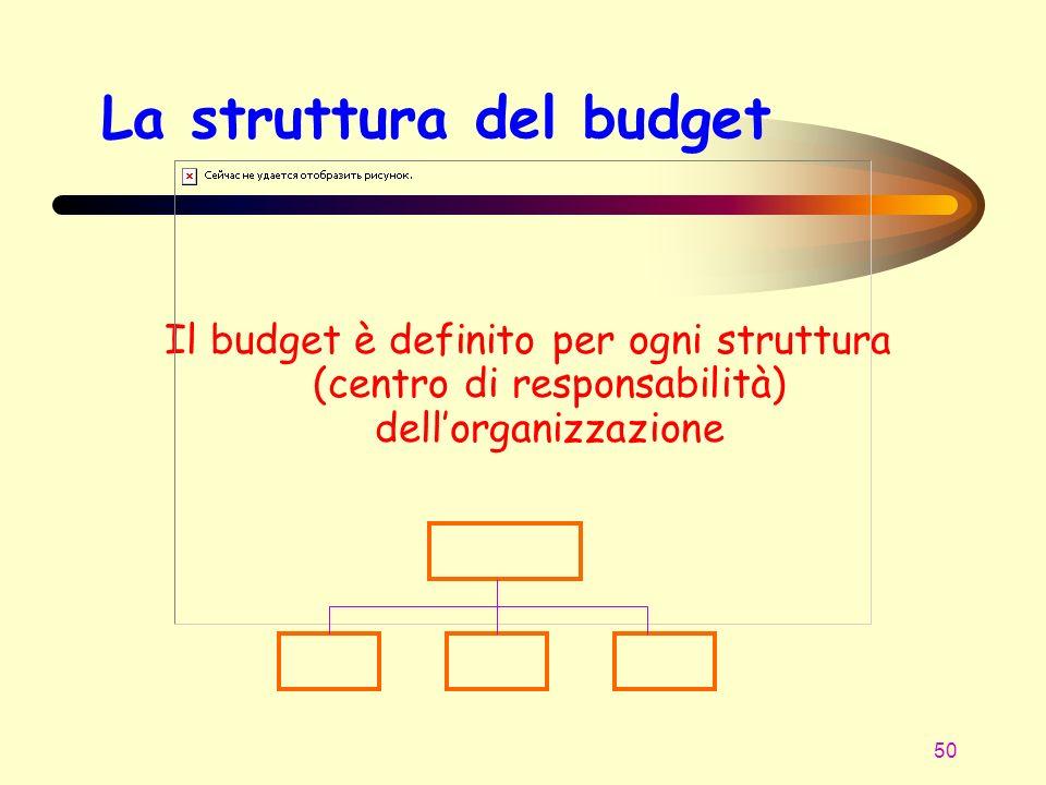 50 La struttura del budget Il budget è definito per ogni struttura (centro di responsabilità) dellorganizzazione