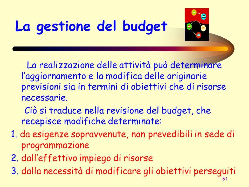 51 La gestione del budget La realizzazione delle attività può determinare laggiornamento e la modifica delle originarie previsioni sia in termini di o