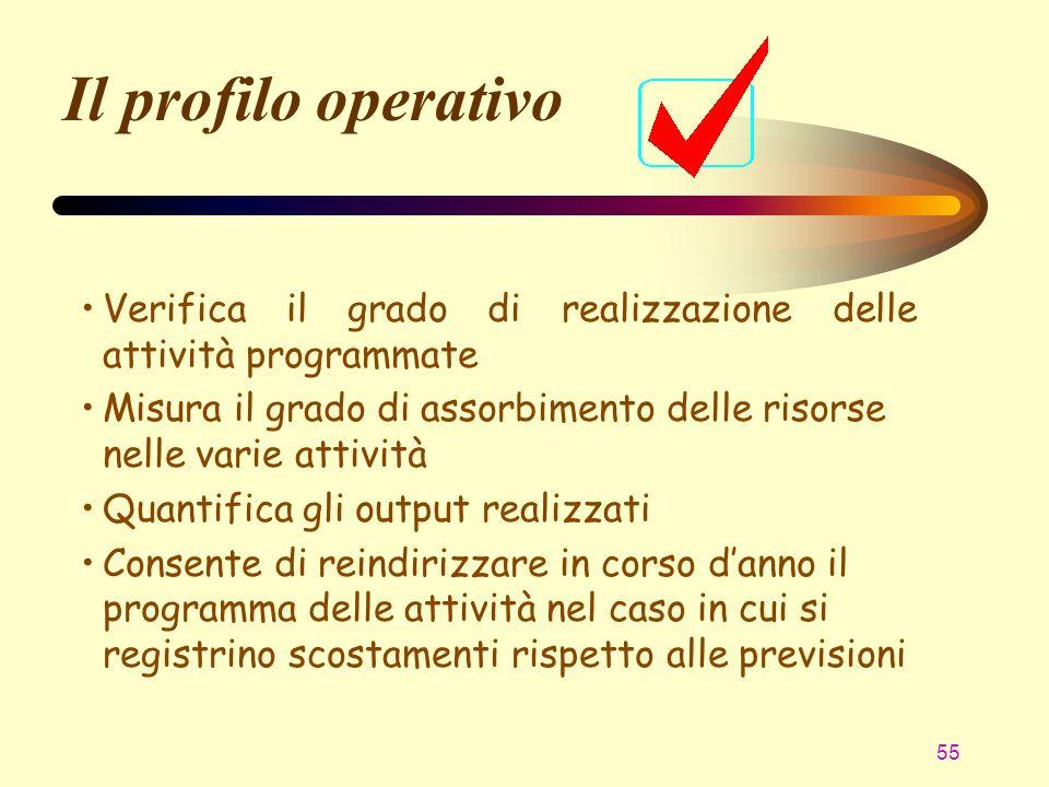 55 Il profilo operativo Verifica il grado di realizzazione delle attività programmate Misura il grado di assorbimento delle risorse nelle varie attivi