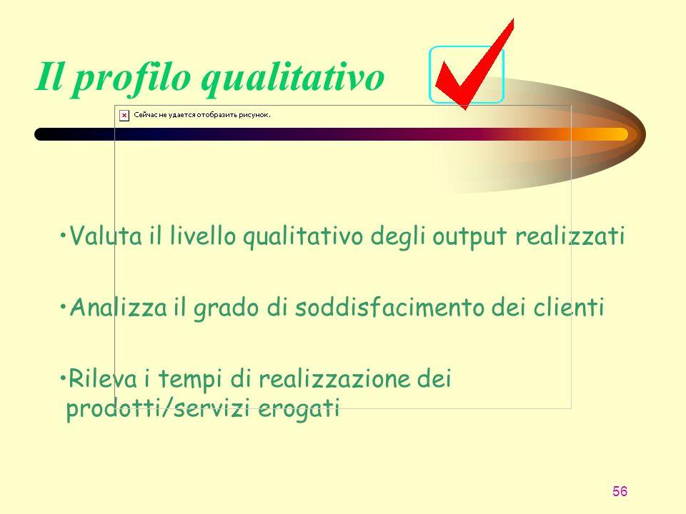 56 Il profilo qualitativo Valuta il livello qualitativo degli output realizzati Analizza il grado di soddisfacimento dei clienti Rileva i tempi di rea