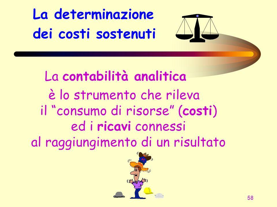 58 La determinazione dei costi sostenuti La contabilità analitica è lo strumento che rileva il consumo di risorse (costi) ed i ricavi connessi al ragg