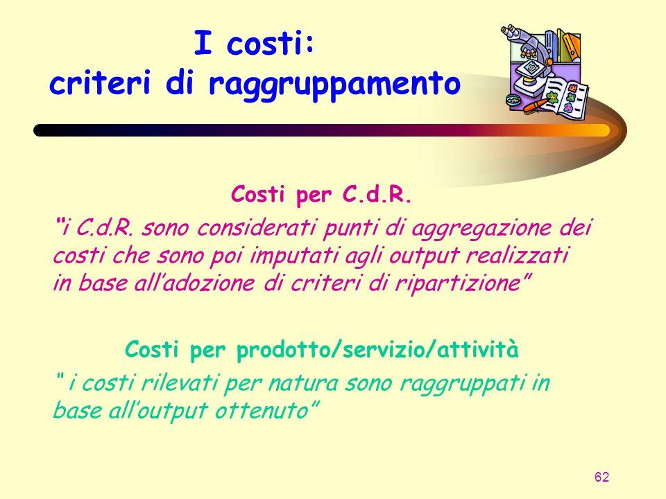 62 I costi: criteri di raggruppamento Costi per C.d.R. i C.d.R. sono considerati punti di aggregazione dei costi che sono poi imputati agli output rea