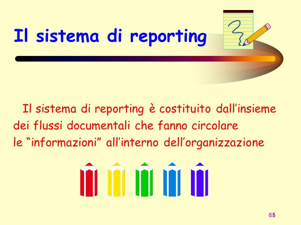 65 1 Il sistema di reporting Il sistema di reporting è costituito dallinsieme dei flussi documentali che fanno circolare le informazioni allinterno de