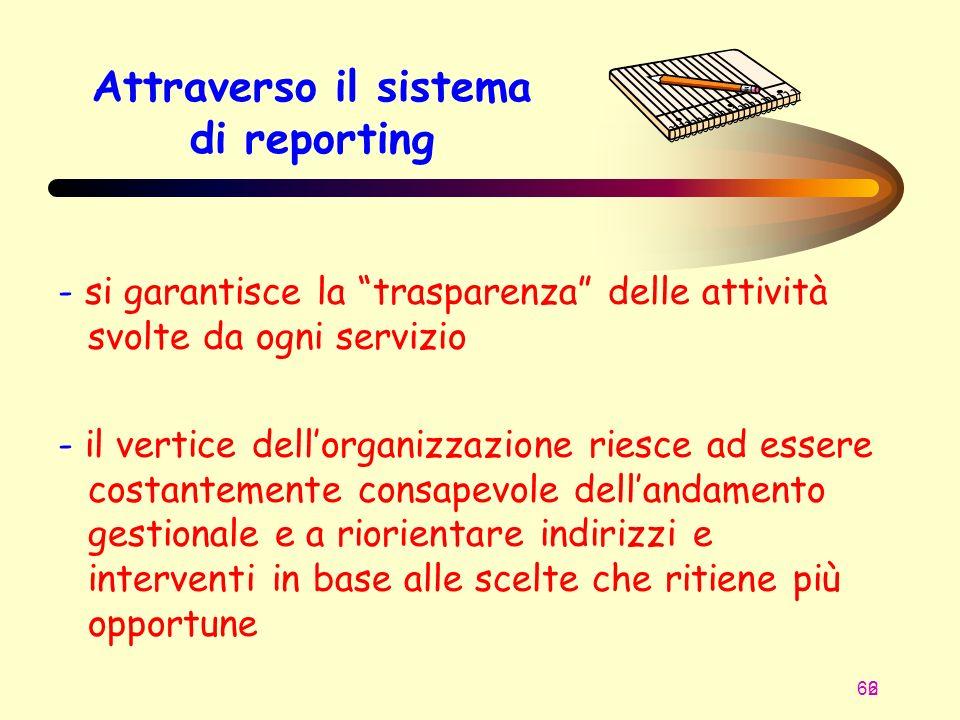 66 2 Attraverso il sistema di reporting - si garantisce la trasparenza delle attività svolte da ogni servizio - il vertice dellorganizzazione riesce a