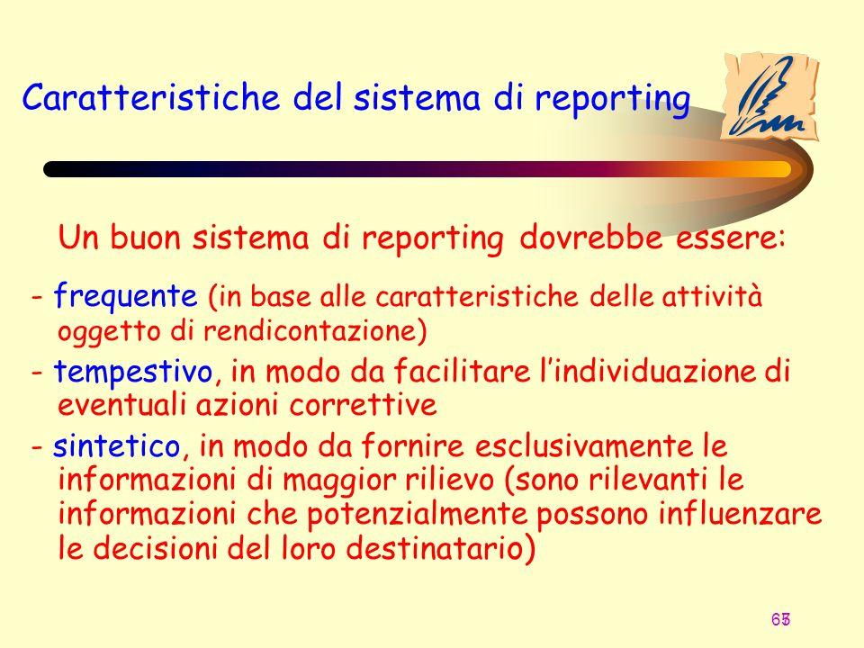 67 5 Caratteristiche del sistema di reporting Un buon sistema di reporting dovrebbe essere: - frequente (in base alle caratteristiche delle attività o