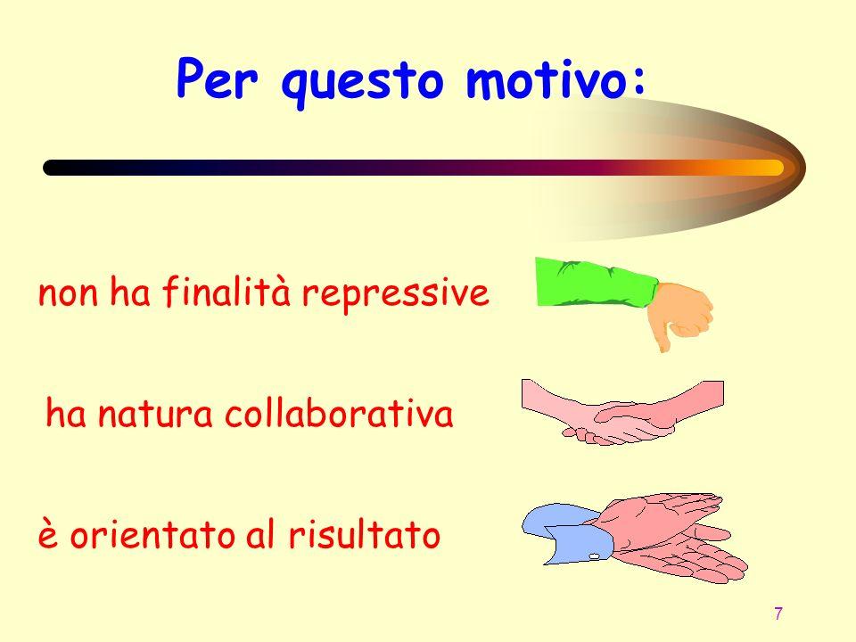 7 Per questo motivo: non ha finalità repressive ha natura collaborativa è orientato al risultato