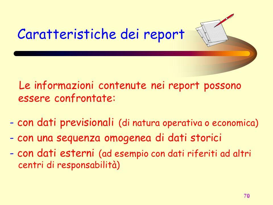 70 9 Caratteristiche dei report Le informazioni contenute nei report possono essere confrontate: - con dati previsionali (di natura operativa o econom