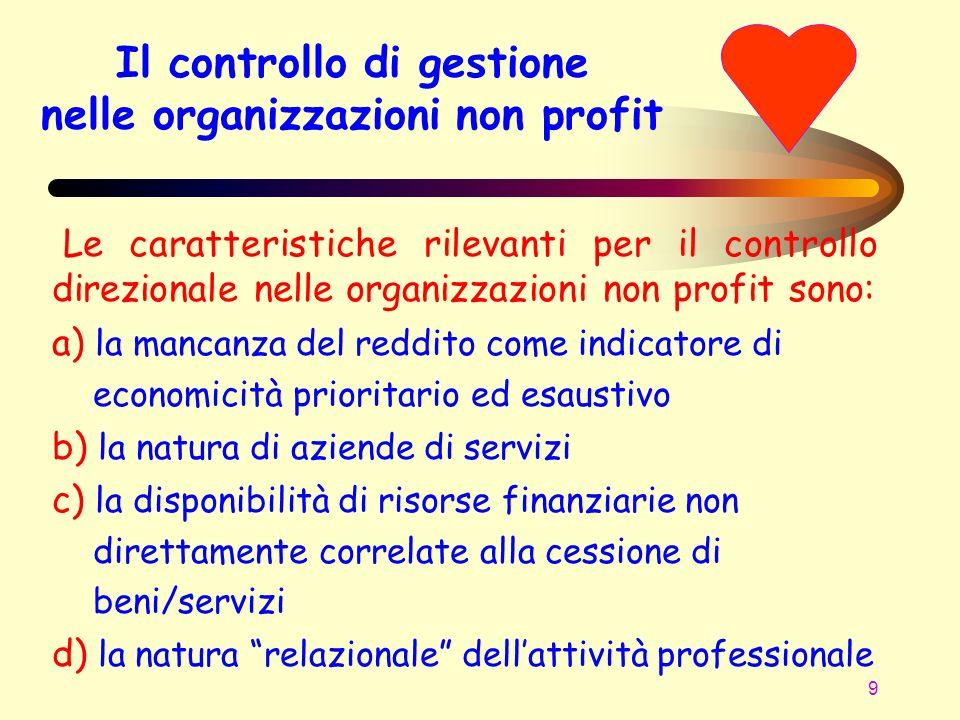 9 Il controllo di gestione nelle organizzazioni non profit Le caratteristiche rilevanti per il controllo direzionale nelle organizzazioni non profit s